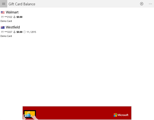 Gift Card Balance App (Windows / UWP / Surface / XBOX from